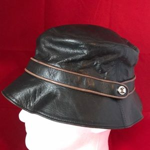 Coach Black Leather Hat Cap small